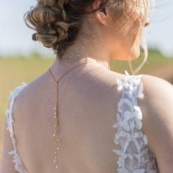 pearl vine bridal lariat necklace, delicate modern pearl jewellery for a bride on her wedding day