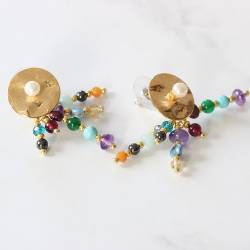 gold stud earrings with jewelled gemstone drop