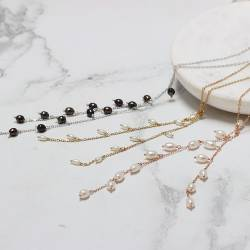 pearl vine lariat necklaces , white or peacock black pearls on delicate silver, rose gold or gold chain