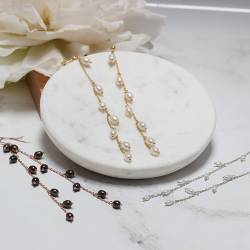 pearl vine drop earrings, peacock and white pearls on delicate silver, rose gold or gold chain