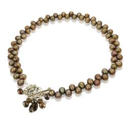 Iris Bronze Top Drilled Pearl Choker Necklace