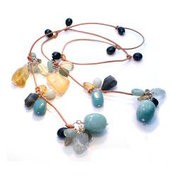 Pale Blue and Gold Lariat on Natural Leather