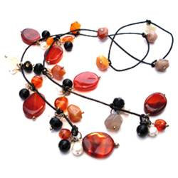 Carnelian and Black Onyx Lariat
