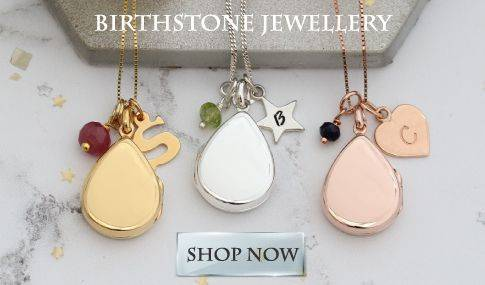 Modern Teardrop Locket Necklace Personalised with Her birthstone and Initial